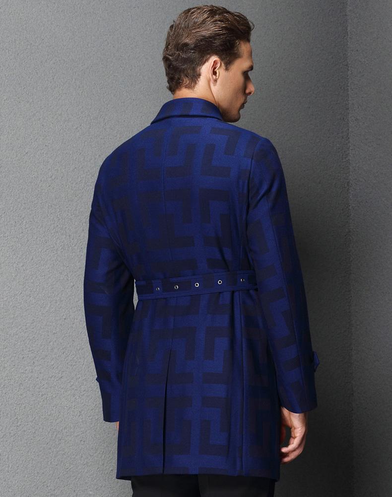 商务休闲蓝色羊毛大衣